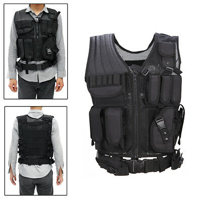NEW Tactical Vest BLACK Large Military Special Forces Swat Police Hunting AU