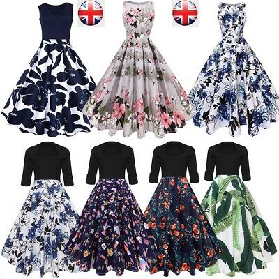 UK 8-22 Womens Floral Print Skater Dress Housewife Pin Up Prom Party Swing Dress