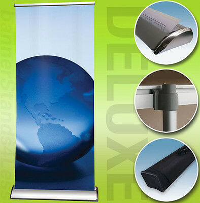 36x79 DELUXE Retractable Banner Stand Roll Up Trade Show Display, Free Print