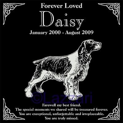 Personalized Springer Spaniel Dog Pet Memorial 12x12 Engraved Granite Headstone