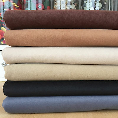 PER METRE faux suedette fabric brown tan beige cream black & grey 150cm wide