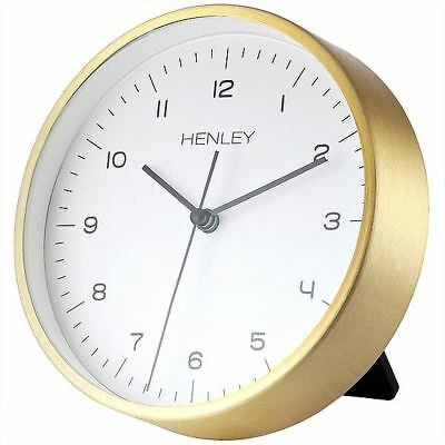 Henley Brushed Aluminium Gold Colour Case Table or Wall Clock White Dial 15cm