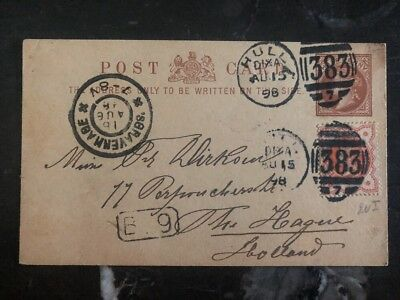 1898 Hull England Postal Stationary Uprated Cover To The Hage Holland