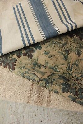 Vintage French fabrics antique material PROJECT BUNDLE homespun check