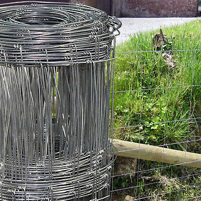 Galvanised Stock Fencing L8/80/15 Sheep Pig Livestock Fence 50m Roll 80cm High