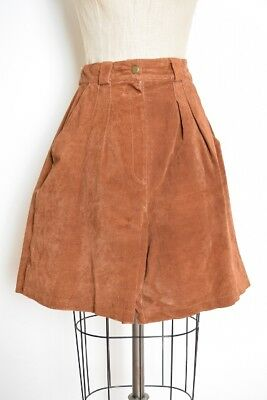 vintage 80s shorts brown suede leather high waisted pleated mom shorts S