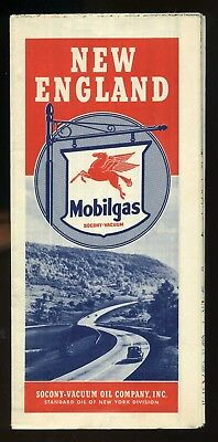 Vintage 1940 Mobilgas New England Oil Gas Service Station Road Map