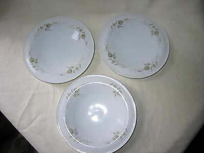 3 Plates By Russell Wright Yamato Japan With Flowers - 8 Inches