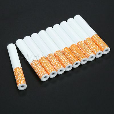 10Pcs 55mm Cigarette Shape Metal Pipe Smoking Accessories Tobacco Pipe