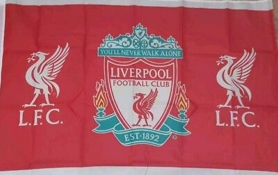 Liverpool Official Club Crest Flag - Red Flag with 2 Liverbirds 3x2