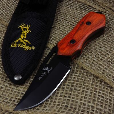 "FIXED-BLADE HUNTING KNIFE Elk Ridge 6"" Full Tang Black Blade Wood Handle Skinner"