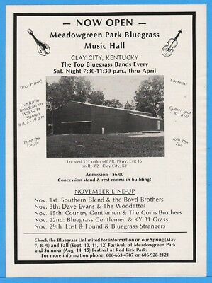 1986 Meadowgreen Park Bluegrass Music Hall Clay City KY Country Gentlemen Ad