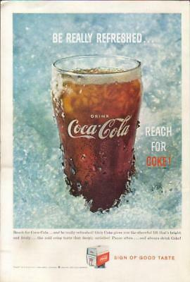 1959 Drink Coca Cola~Soda Vintage 1950s Coke Glass~Pop~Be Really Refreshed Ad