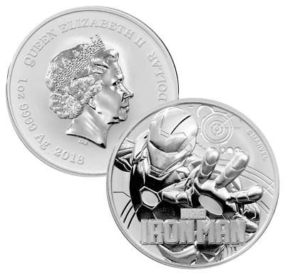 2018 Tuvalu Marvels Iron Man 1oz Silver Coin (b..)