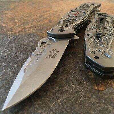 "8.5"" Skull Spring Assisted Open Folding Pocket Knife Combat Tactical Satin Blade"
