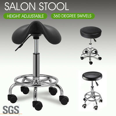 Salon Barber Stool Massage Hairdressing Chair Swivel Hydraulic Lift PU Black AU