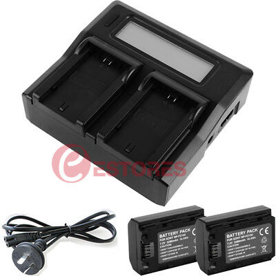 2x NP-FZ100 Battery + Dual Digital Battery Charger For Sony A9 A7R III A7 III