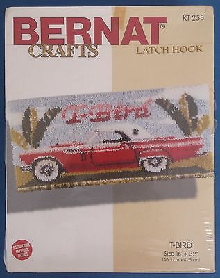 Bernat Crafts Latch Hook Kit T-Bird American Classic Car Unused Sealed Box