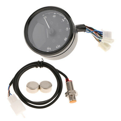 LCD Digital Tachometer Speedometer Odometer Motorcycle 12000 RPM KMH MPH