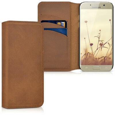 Genuine Leather Flip Folio Wallet Case for Samsung Galaxy A5 2017