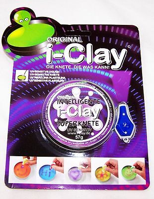 i-Clay Intelligente Knete UV-Sensitiv + UV Lampe Weiß Superknete Magie OVP Neu