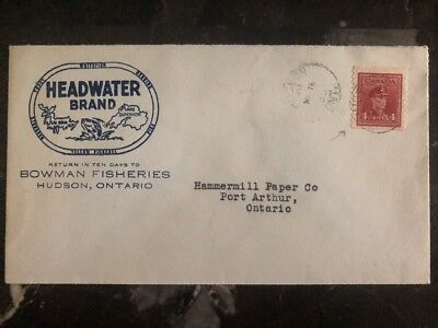 1950 Hudson Canada Commercial Cover Headwater Brand 4c Scarce Stamp