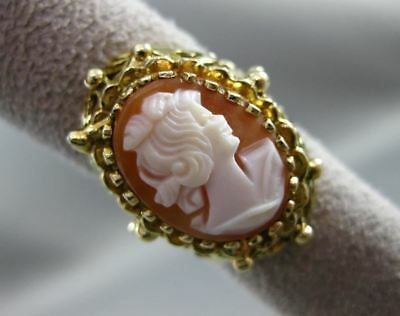 Antique Large 14Kt Yellow Gold Hand Carved Lady Cameo Shell Filigree Ring #19952