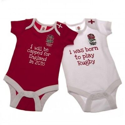 England Rugby Football Union Baby Bodysuit RW Sz 12-18 mths Twin Pack Free UK PP