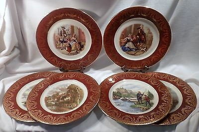 Set of 6 Display or Cabinet Plates, Maroon and Gold Bands, Pictorial: London...