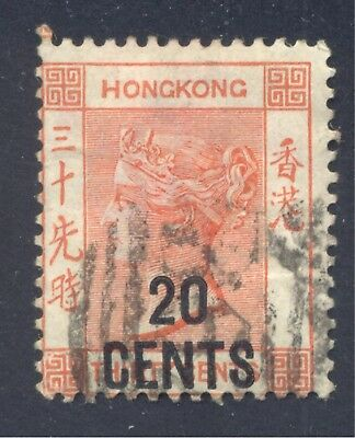 Queen Victoria, 20 cent on 30 cent vermilion , 1885 Hong Kong, Scott #51