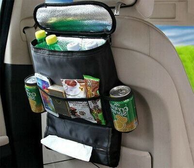 Car Back Seat Cooler Bag & Organiser Multi-Pocket Cooler Storage Shopping Bag
