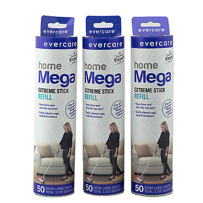 Evercare Large Surface Mega Lint Roller Refills, 50 Sheets, 3 Pack Rollers