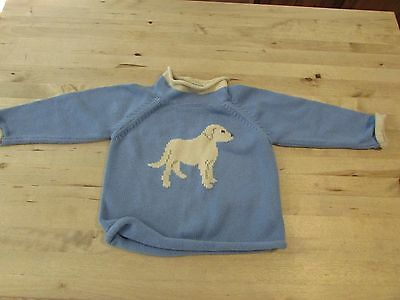 L.L. Bean Toddler Sweater Size 2T 100% Cotton Blue with Lab Dog Design