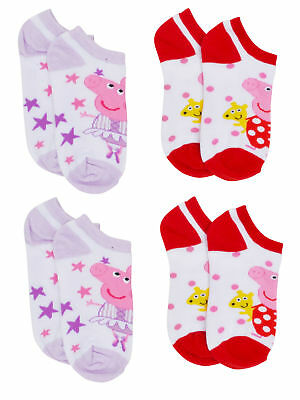 Peppa Pig Girls Ankle Socks Choose Size (4-PACK)