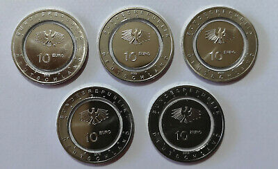 #RM# 5x 5 EURO COMMEMORATIVE ALLEMAGNE 2018 - ZONE SUBTROPICAL - A+D+F+G+J