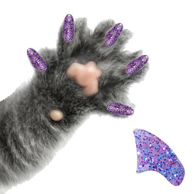 PRETTY CLAWS 60 Piece Soft Nail Caps For Cat Paws ~ AMETHYST PURPLE GLITTER