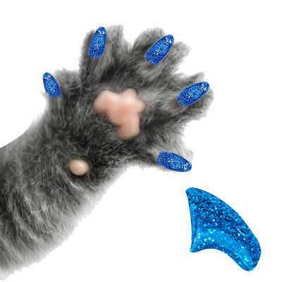PRETTY CLAWS 60 Piece Soft Nail Caps For Cat Paws ~ Adhesive ~ SAPPHIRE GLITTER