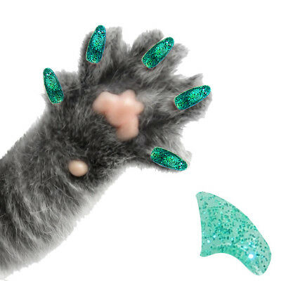 PRETTY CLAWS 60 Piece Soft Nail Caps For Cat Paws ~ Adhesive ~ EMERALD GLITTER