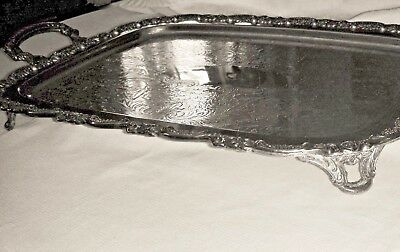Rare Antique Oneida Silver Plate Ornate Large 4 Footed Butlers Tray w/Handles