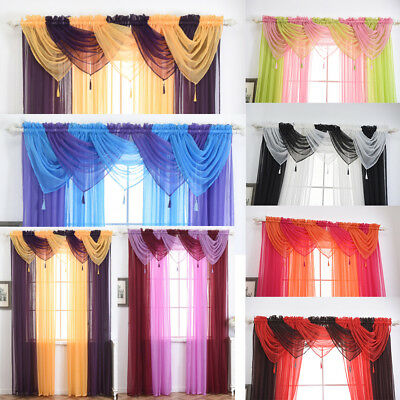 Tassels Voile Curtain Swags All Colours Pelmet Valance Net Curtains Voile Swag