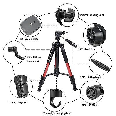 4-Section Column Non-slip rubber Leg ZOMEI Q111 Tripod Red for DSLR Camera