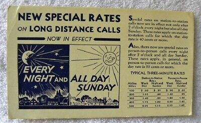Vintage Long Distance Telephone Calls Special Rates Ink Blotter
