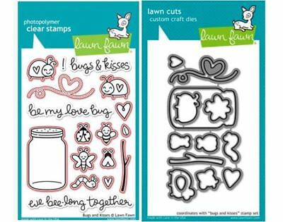 Lawn Fawn Photopolymer Clear Stamps & Die Combo ~  BUGS & KISSES  ~LF789, LF790