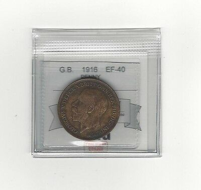 **1916**Great Britain, One Penny, Coin Mart Graded**EF-40**