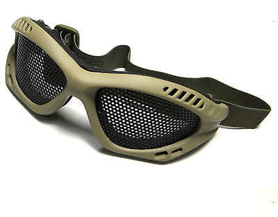 New Style Khaki Low Profile Eye Metal Wire Goggle For Paintball Airsoft Mask