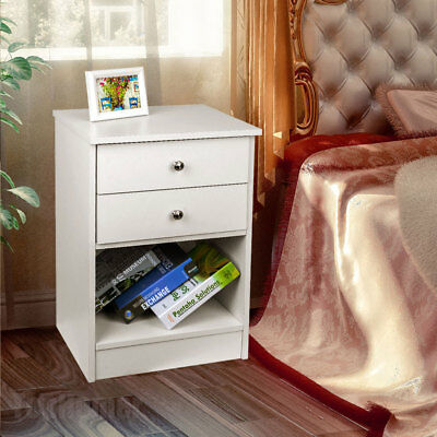 White/Black Bedside Table with 2 Drawers Wooden Cabinet Side Nightstand Storages
