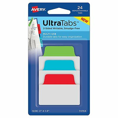 """Pk/24 Avery 74754 Multi-use Repositionable Ultra Tabs, 2"""" x 1.5"""", Primary Colors"""