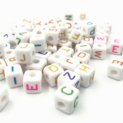 DIY 100pcs Cubic Acrylic Beads Mixed color Letter/ Alphabet Spacer Beads 10X10mm