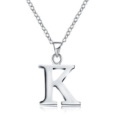 Personalised Silver Initial Letter Alphabet A - Z Pendant Necklace Chain+925BOX