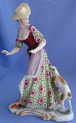 """Antique Fox  Rat Terrier Jack Russell Dog Lady Bustelli  Nymphenburg Germany 7"""""""